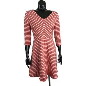 Old Navy Small Coral Pink White Skater Dress